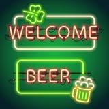 St Patricks Day Neon Frames Stock Photo
