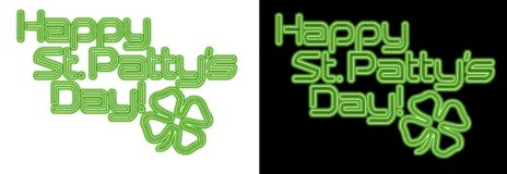 St. Patricks Day Neon. St. Patrick`s Day Patty`s Saint Neon Art glass retro fun four leaf clover Stock Image