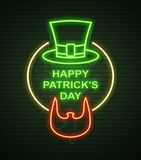 St Patricks Day Neon sign and green brick wall. Irish Beard of L. Eprechaun and Hat. National holiday symbol in Ireland. Template night banner vector illustration