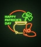 St Patricks Day Neon sign and green brick wall. Realistic sign. National holiday symbol in Ireland. Irish Shamrock. Leprechaun Pot of gold. Template night royalty free illustration