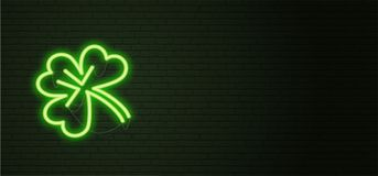 St Patricks Day Neon sign and green brick wall. Realistic sign. National holiday symbol in Ireland. Irish Shamrock. Template night horizontal banner vector illustration