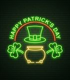St Patricks Day Neon sign and green brick wall. Realistic sign. National holiday symbol in Ireland. Irish Shamrock. Leprechaun Pot of gold. Template night vector illustration