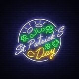 St Patricks Day is a neon sign. Symbol, logo with beer, neon banner, bright design in neon style, Festive illustration. For greeting card, flyer, invitation stock illustration