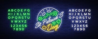 St Patricks Day is a neon sign. Symbol, logo with beer, neon banner, bright design in neon style, Festive illustration. For greeting card, flyer, party. Vector stock illustration