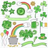 St Patricks Day Notebook Doodle Icon Set Vector. Psyechedelic St Patrick's Day Icon Set Notebook Doodles Vector Illustration Design Elements on Lined Sketchbook royalty free illustration