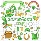 St Patricks Day Notebook Doodle Icon Set Vector Stock Illustration