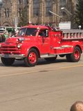 St. Patricks Day Parade Bay City Michigan. Old Time Fire Truck Stock Images