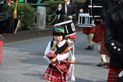 St Patricks day parade in busy downtown tokyo Stock Image