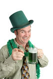 St Patricks Day Party. A drunk Irish American man at a St. Patrick's Day Party.  Isolated on white Royalty Free Stock Photos