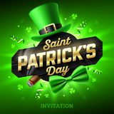 St Patricks Day party invitation. Saint Patrick`s Day party invitation, Feast of Saint Patrick, 17 March celebration. Leprechaun hat, gold lettering, party Stock Photo