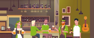 St. Patricks Day Party In Irish Pub Concept Group Of People Wearing Green Hats And Drinking Beer Together. Flat Vector Illustration vector illustration