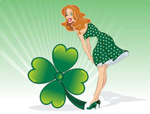 St Patricks Day pin up with clover royalty free stock photos