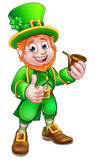St Patricks Day Pipe Leprechaun. Cartoon Leprechaun St Patricks Day character holding a pipe and giving a thumbs up Royalty Free Stock Photography