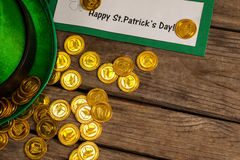 St Patricks Day placard leprechaun hat with gold chocolate coins Stock Image