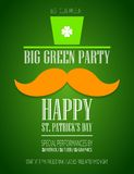 St. Patricks Day poster. With a mustache and hat EPS10 Royalty Free Stock Photography