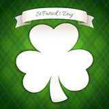 St Patricks Day Poster with Paper Clover Royalty Free Stock Image