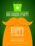St. Patricks Day poster. St. Patrick Day poster with a mustache and hat EPS10 Royalty Free Stock Photography