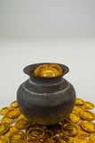 St. Patricks Day pot filled with chocolate gold coins Stock Photo