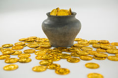 St. Patricks Day pot filled with chocolate gold coins Royalty Free Stock Images