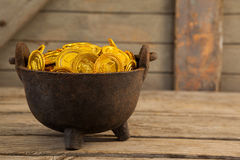St. Patricks Day pot filled with chocolate gold coins Royalty Free Stock Photo