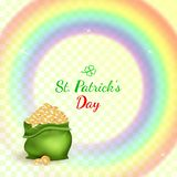 St Patricks day pot of gold with Irish rainbow royalty free illustration