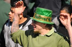 St Patricks Day reveler. Reveler in Irish green at the 143rd annual St. Patrick's Day Parade on March 17, 2010, in Cleveland, Ohio Stock Photography
