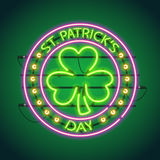 St Patricks Day Round Neon Sign Royalty Free Stock Photo