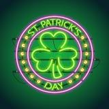St Patricks Day Round Neon Sign Royalty Free Stock Photo