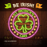 St Patricks Day Round Neon Sign Stock Image