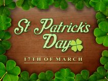 St Patricks Day. Saint Patrick`s Day Card or Sign to celebrate the lucky day on the 17th of March stock illustration