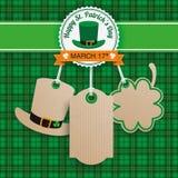 St Patricks Day Sale 3 Carton Price Stickers Tartan. Green irish tartan background for St. Patrick's Day sale with carton price stickers Stock Image