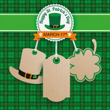 St Patricks Day Sale 3 Carton Price Stickers Tartan Stock Image