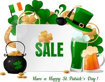 St. Patricks Day sale design template Royalty Free Stock Image
