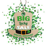 St Patricks Day Sale Hat Price Sticker Shamrocks Royalty Free Stock Photography