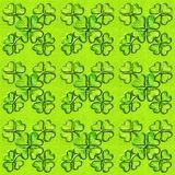 St. Patricks day seamless background with shamrock. Glass effect, 3D ornament stock illustration