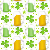 St. Patricks Day seamless pattern with beer and clover. Endless backdrop texture. Vector illustration. Royalty Free Stock Images