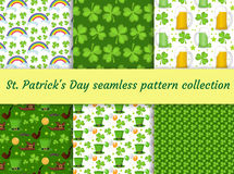 St. Patricks Day seamless pattern collection with beer and clover. Endless backdrop texture. Vector illustration. St. Patricks Day seamless pattern collection Stock Illustration