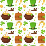 St. Patricks Day seamless pattern. Endless background texture. Vector illustration. Stock Photography