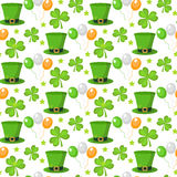 St. Patricks Day seamless pattern. Endless background texture. Vector illustration. Royalty Free Stock Photos