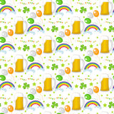 St. Patricks Day seamless pattern. Endless background texture. Vector illustration. Stock Images
