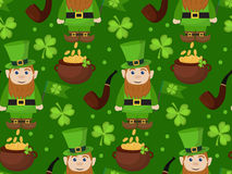 St. Patricks Day seamless pattern. Endless background texture. Vector illustration. Stock Photos