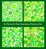 St Patricks Day seamless pattern set. Traditional shamrock lucky. Symbol. Clover green four-leaf. Cloverleaf irish holiday celebration sign. Scrapbook template Stock Image