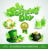 St. Patricks Day Set of vector illustrations. St. Patricks Day Set of vector design element Stock Illustration