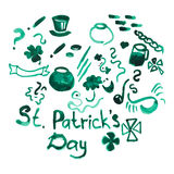 St patricks day set. Watercolor set of hand drawn design elements for st patricks day materials such as poster, flyer, flag, greeting card, advertising Royalty Free Stock Photo
