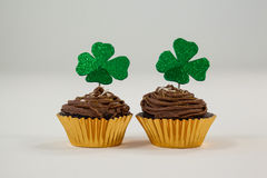 St Patricks Day shamrock on cupcake Royalty Free Stock Photography