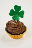 St Patricks Day shamrock on the cupcake Royalty Free Stock Images