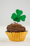 St Patricks Day shamrock on the cupcake Royalty Free Stock Image