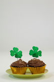 St Patricks Day shamrock on the cupcake Royalty Free Stock Photos