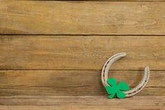 St Patricks Day shamrock with horseshoe Stock Image