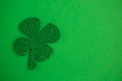 St Patricks Day shamrock. O green background Stock Images